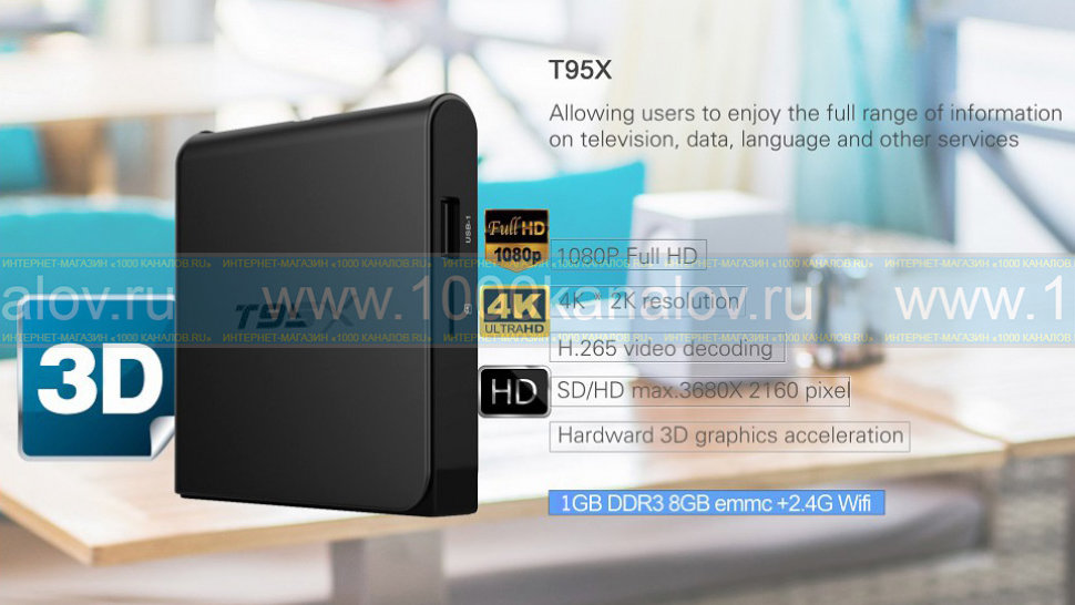 Приставка Смарт ТВ - Invin T95X-2Gb (Android TV Box)